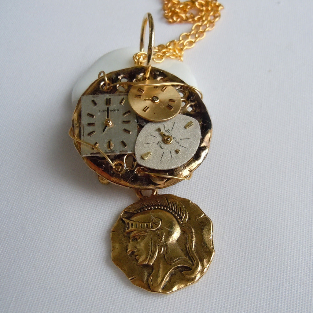 Tri-Watch Face Gold Pendant Necklace