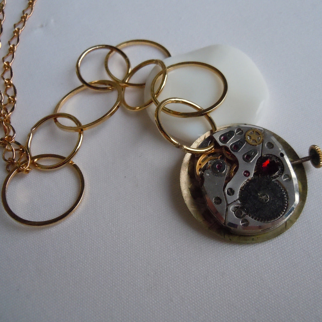 Hooped Large Watch Gears & Face w/ Ruby Crystal Pendant Necklace
