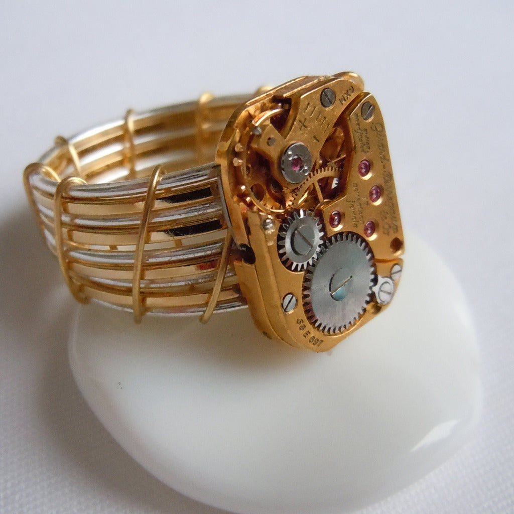 Gold Rounded Rectangle Watch Gear Ring