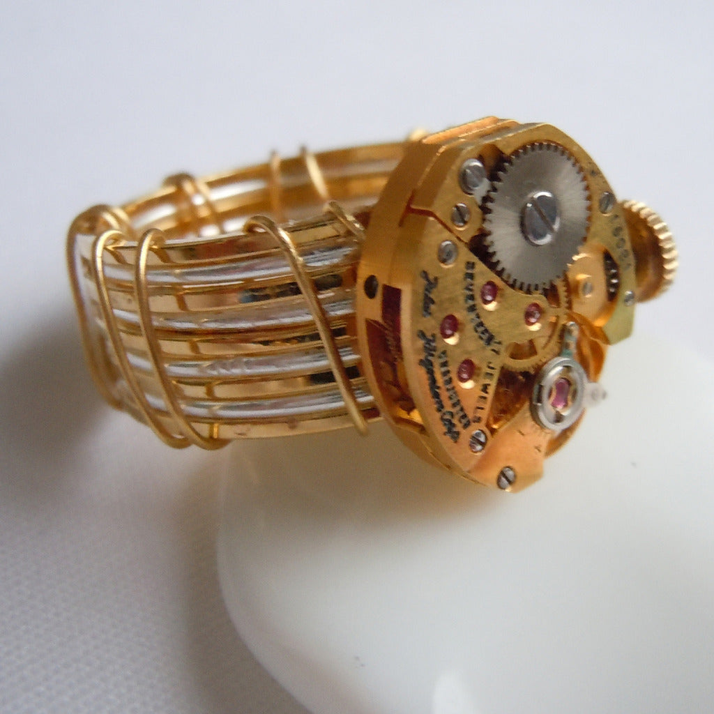 Gold Oval Watch Gear Ring