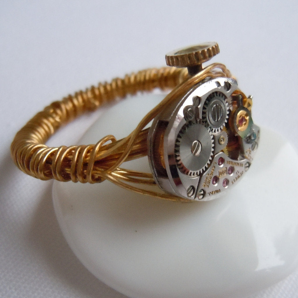 Silver Oval Watch Gear Wire Wrap Ring
