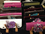 Genuine Leather Clutches with Flowers