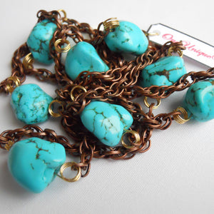 Turquoise Gold Turned Copper Chain