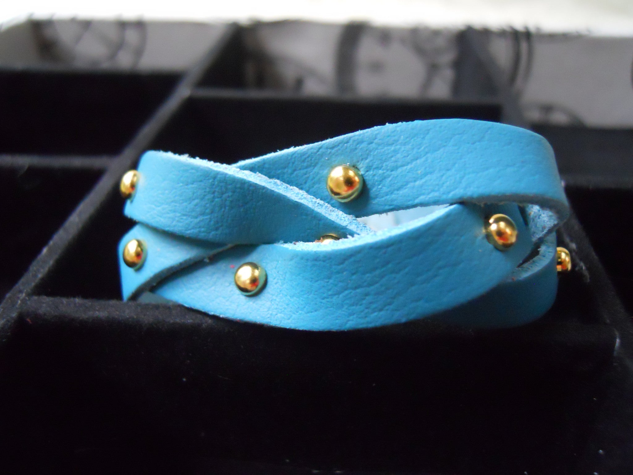 "1"" Gold Stud Braided Leather Bracelet"