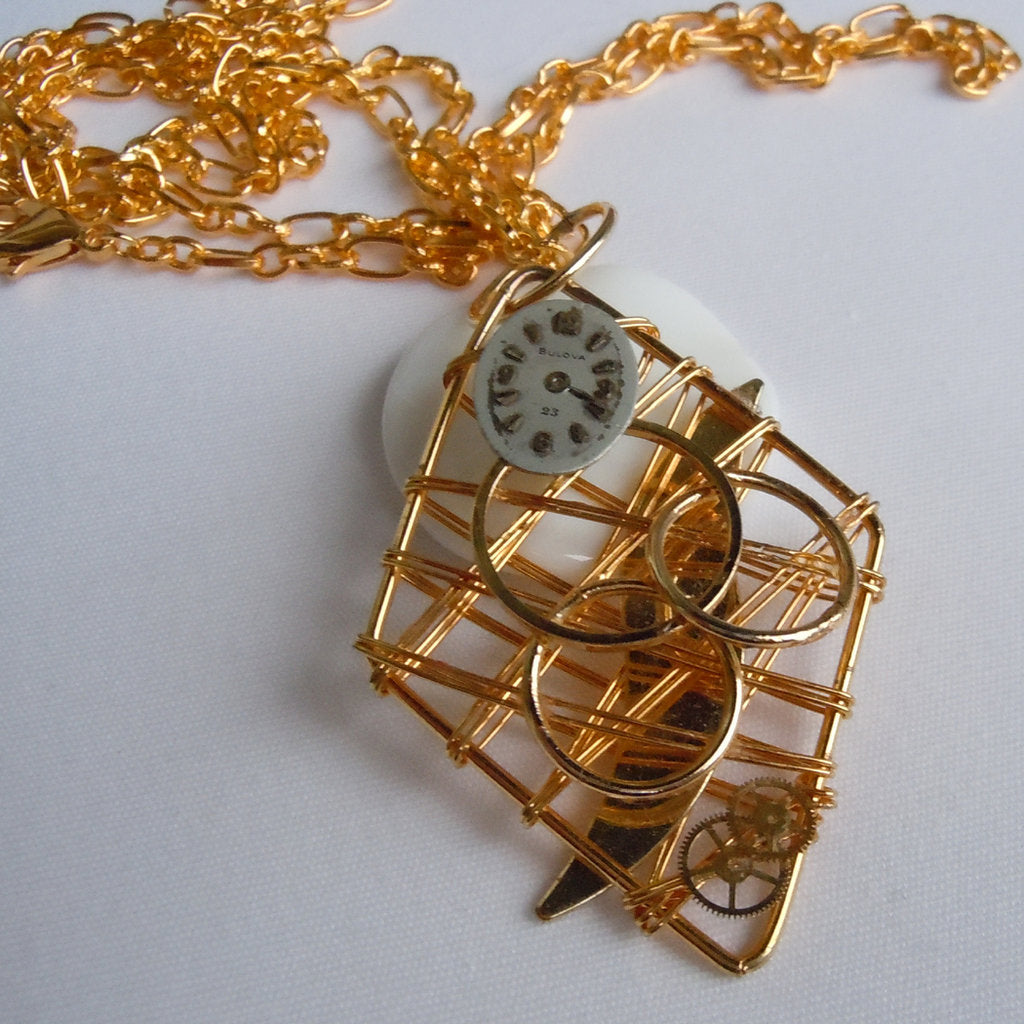 Flat Gold Diamond Watch Face Pendant Necklace