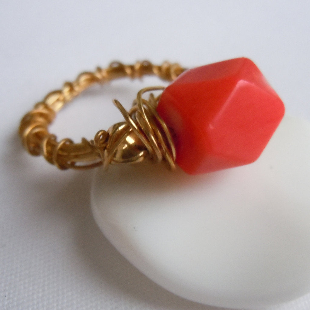 Coral on Gold Wire Wrap Ring