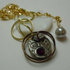 Gears & Face Grey Pearl Pendant Necklace