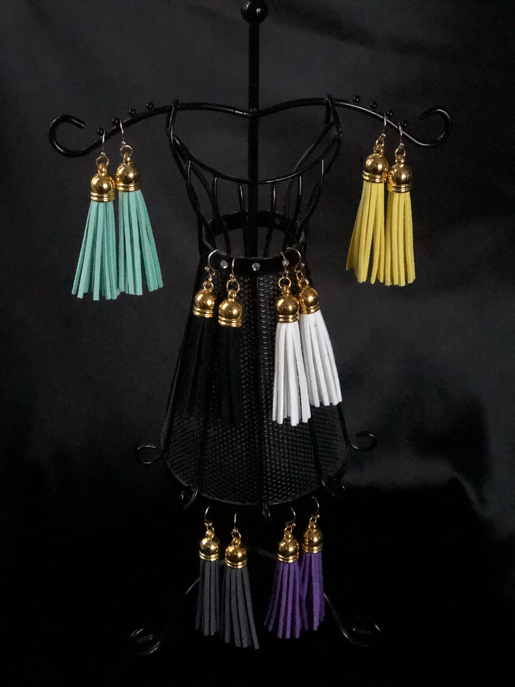 Suede Tassel Earrings - Long Gold