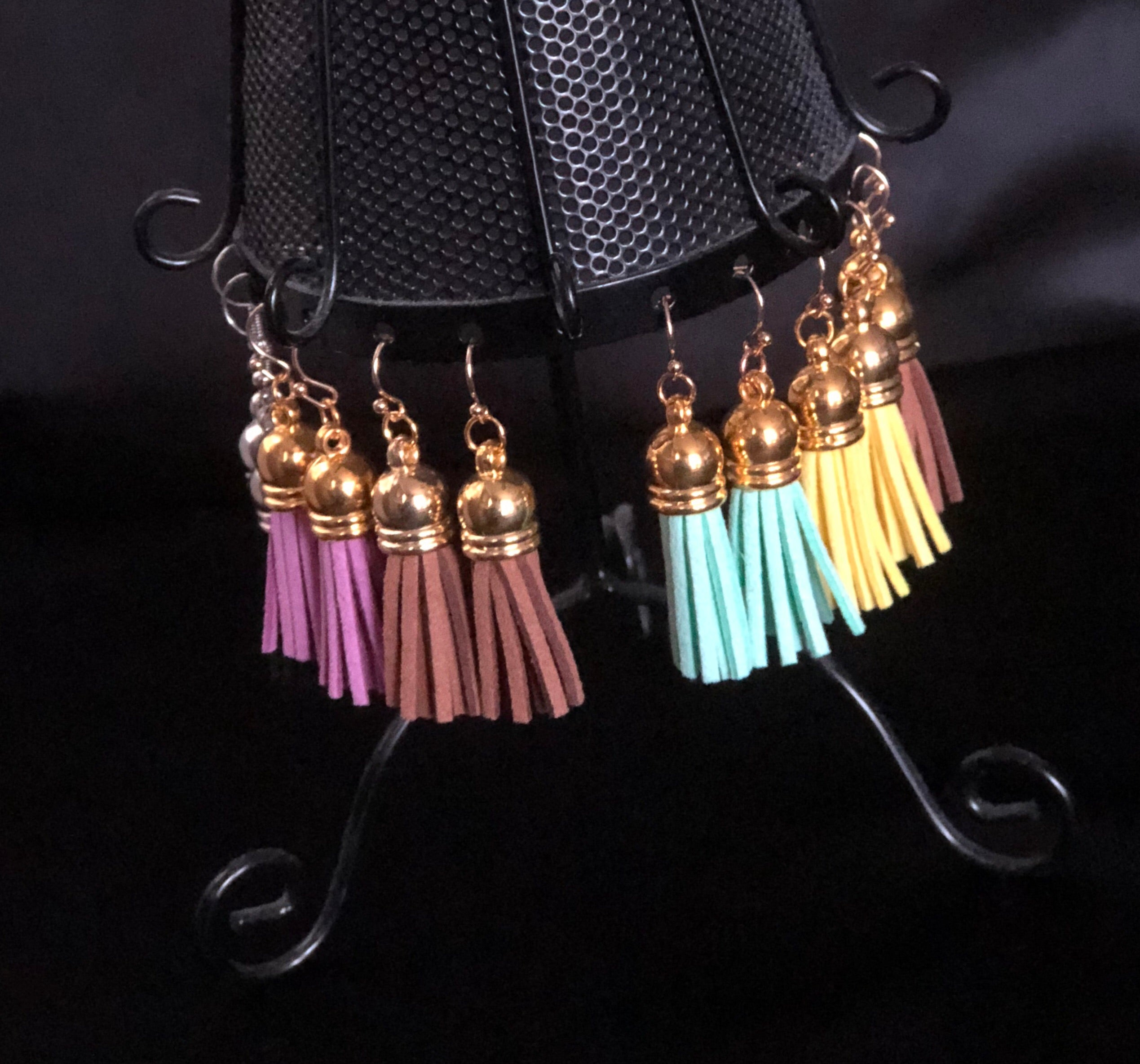 Suede Tassel Earrings - Gold Short