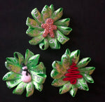 Holiday Green Ribbon HairFlowers