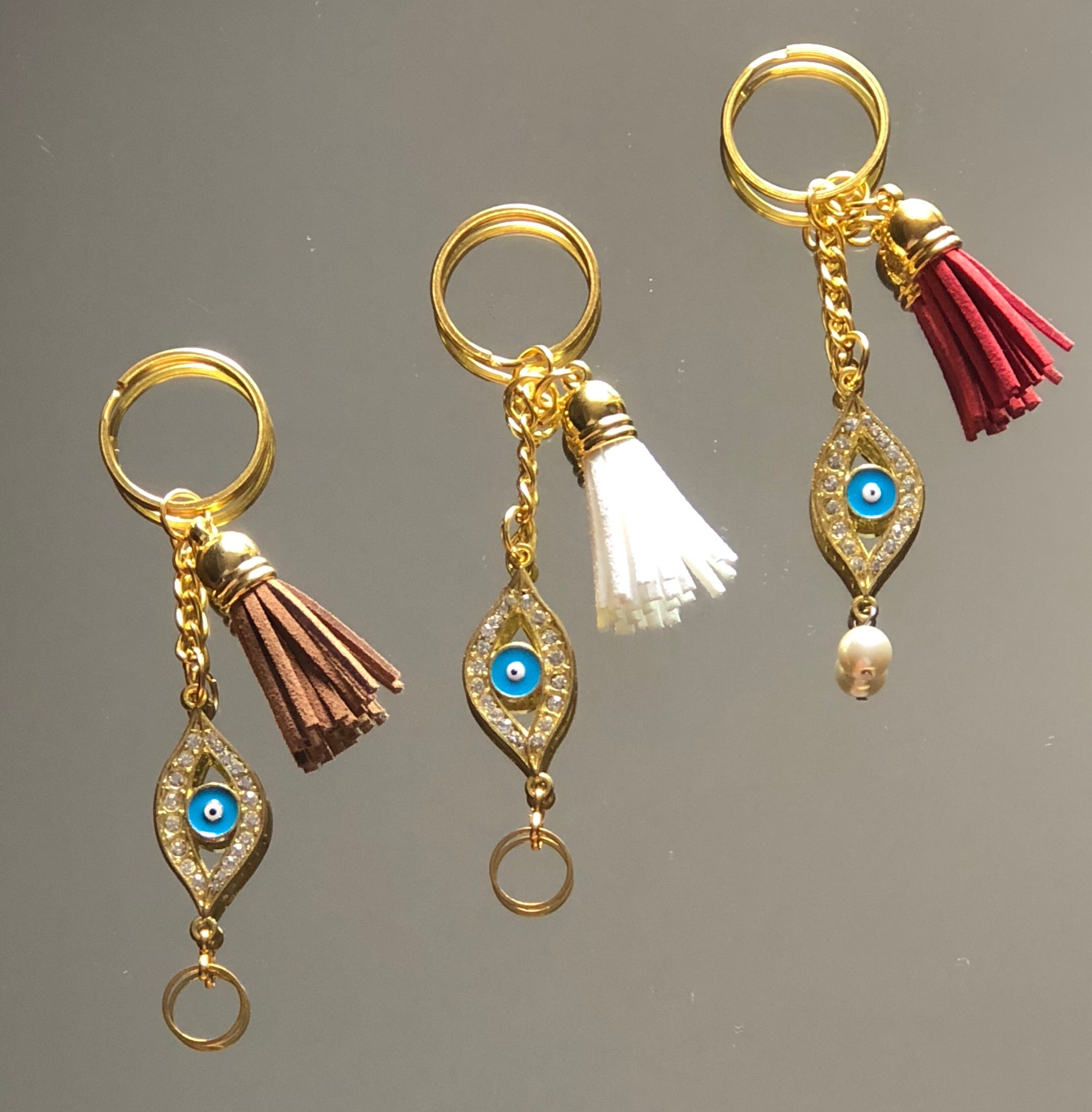 Evil Eye Gold Open & Tassel Keychains