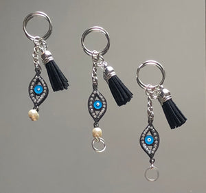 Evil Eye Gunmetal Open & Black Tassel Keychains