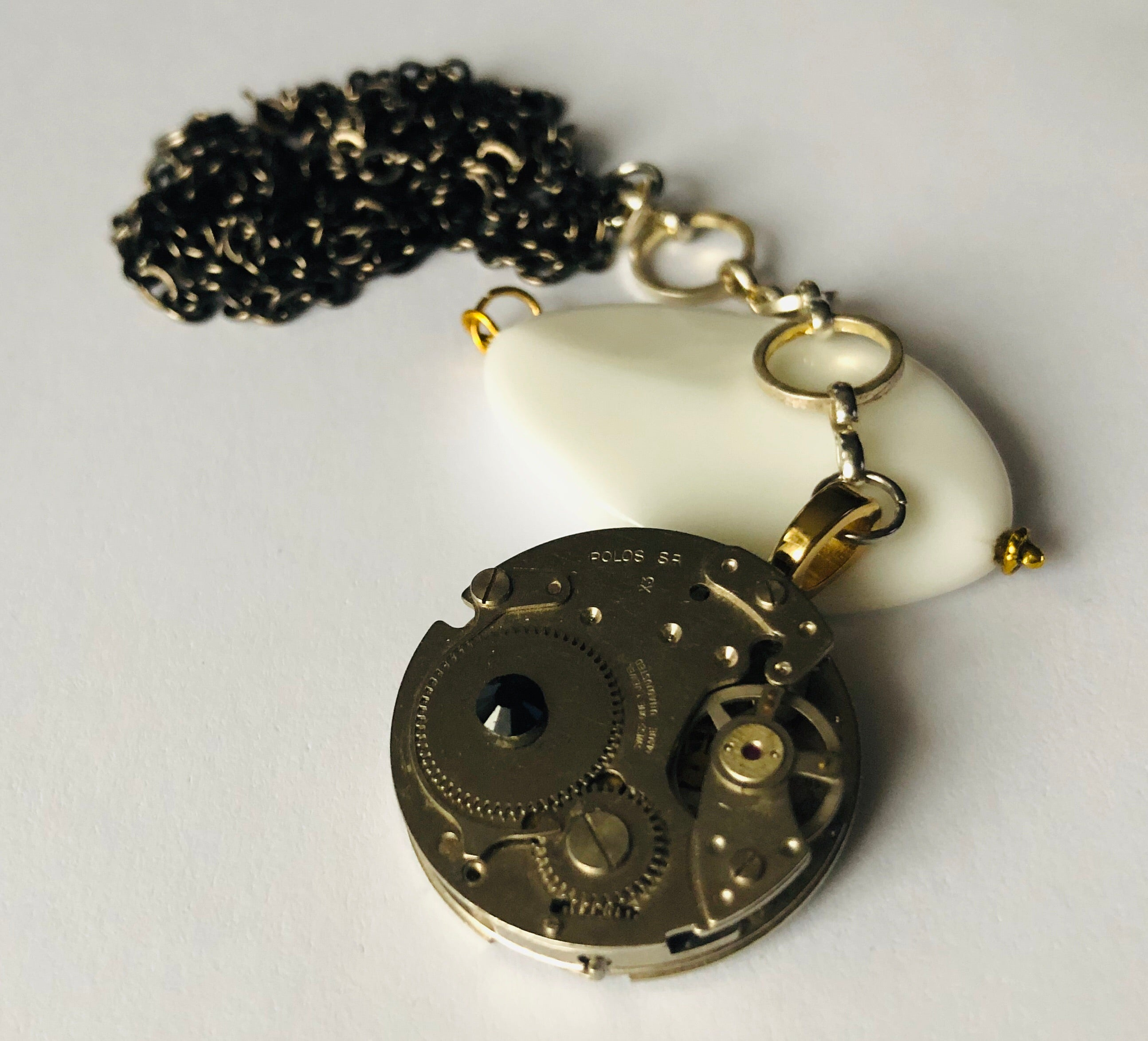 Hooped Inside Out Antique Pocket Watch Necklace