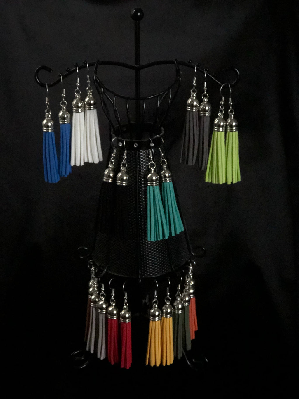 Suede Tassel Earrings - Long Silver