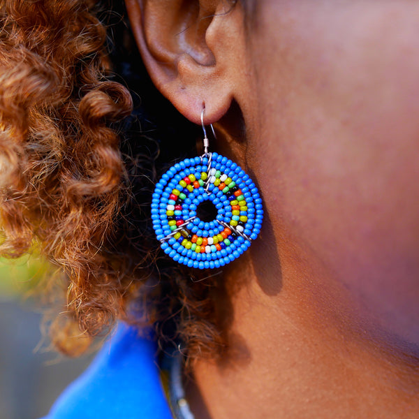 Sapphire Blue - Circle Earrings