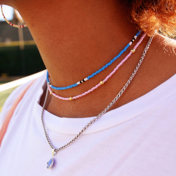 Blue & White - Beaded Necklace
