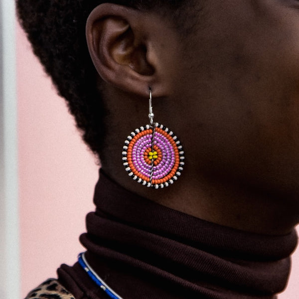 Pink & Yellow - Kifaru - Circle Earrings