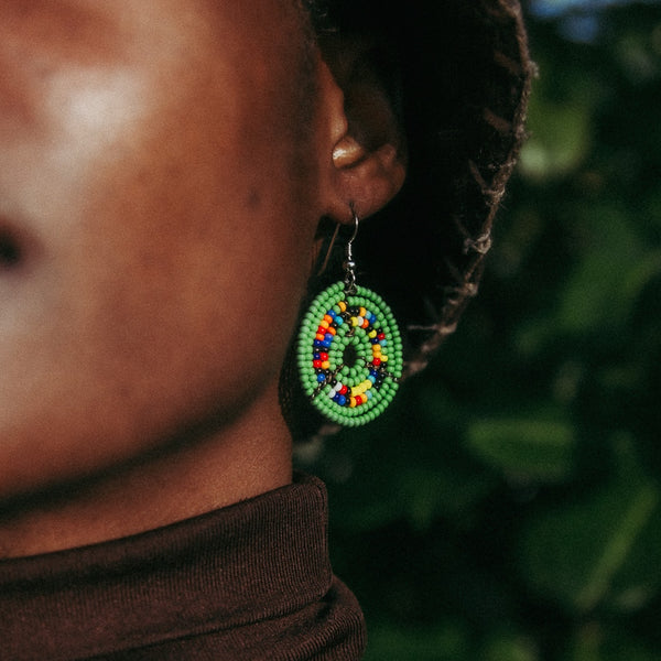 Green - Circle Earrings