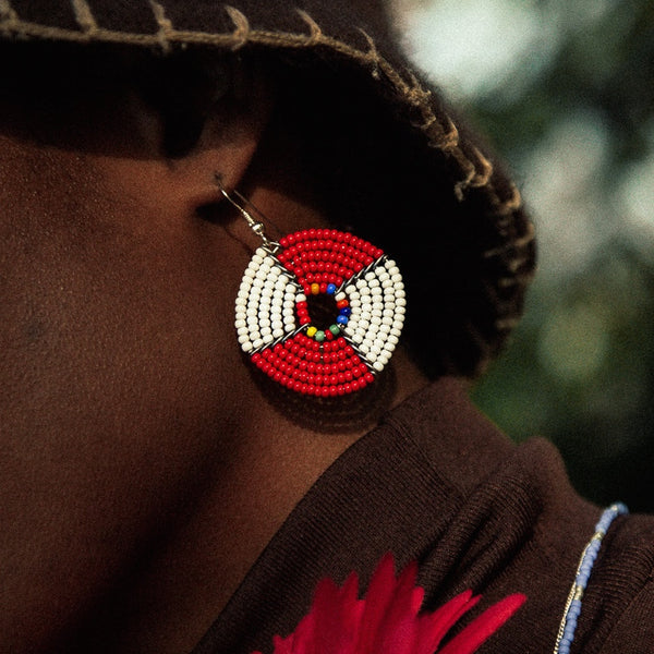 Red & White - Kifaru - Circle Earrings