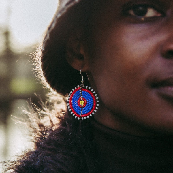 Blue & Red - Circle Earrings