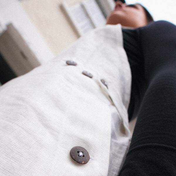 White - Balulu - Linen Dungarees