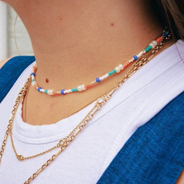 Turquoise and Orange - Beaded Necklace