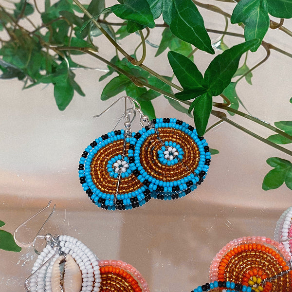 Blue & Gold - Circle Earrings