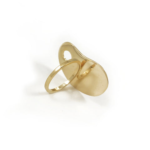 Amoeba Ring - Oval - Gold