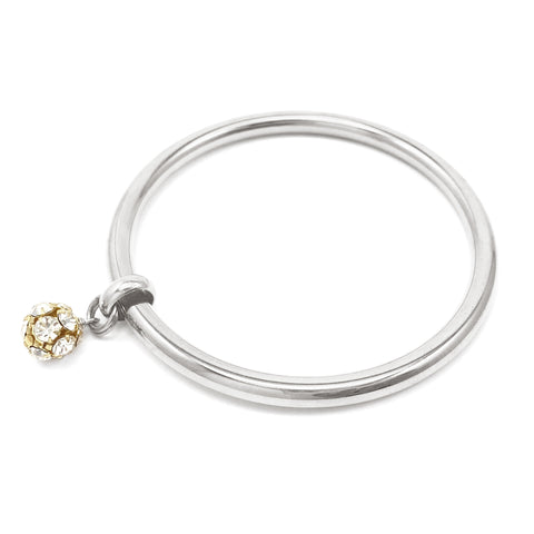 Crystal Drop Bangle - Silver