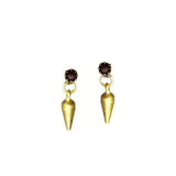 Crystal Spike Studs - Black/Brass