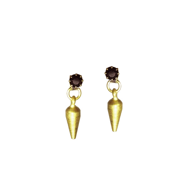 Crystal Spike Studs - Black/Gold