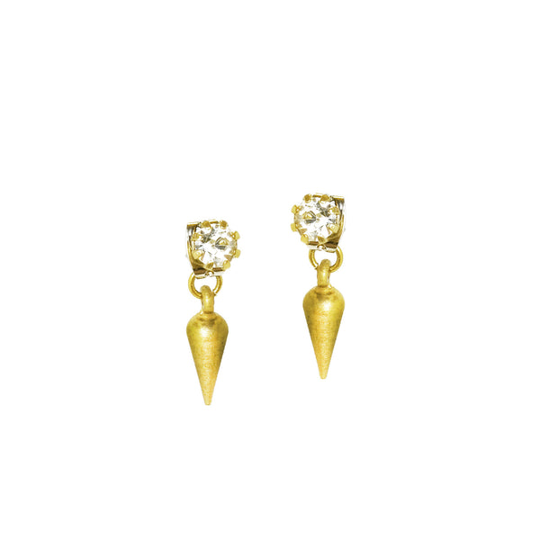 Crystal Spike Studs - Clear/Brass