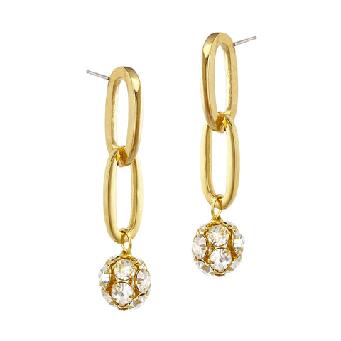 Crystalline Chainlink Studs - Gold