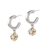 Crystalline Hoops - Silver / Gold Mix