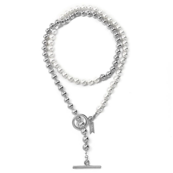 Everyday Wrap Necklace - Silver / Ivory