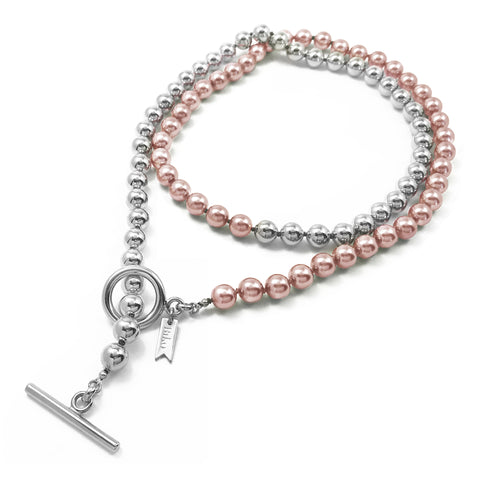 Everyday Wrap Necklace - Silver / Rose Pearl