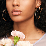 Pearl Floret Hoops - Large - Gold