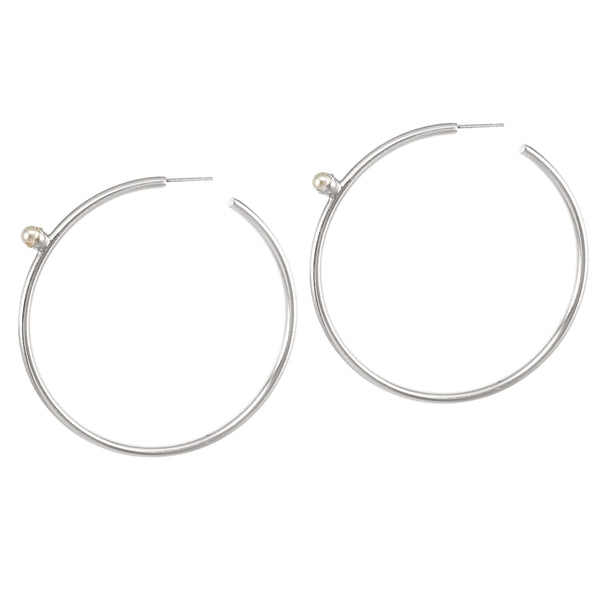 Pearl Floret Hoops - Large - Silver