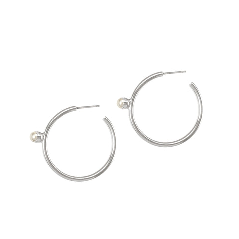 Pearl Floret Hoops - Medium - Silver