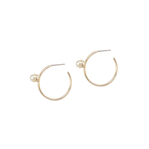 Pearl Floret Hoops - Small - Gold