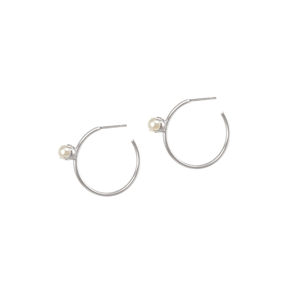 Pearl Floret Hoops - Small - Silver