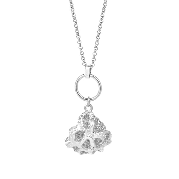 Honeycomb Coral Pendant - Silver