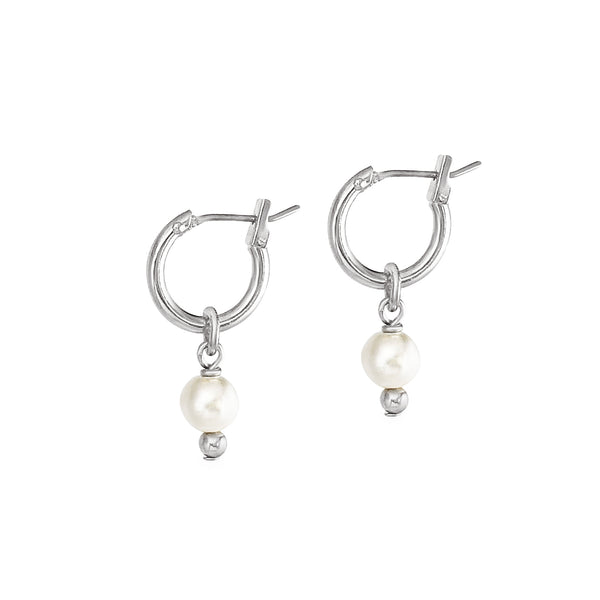 Mini 2-in-1 Pearl Loops - Silver / Ivory