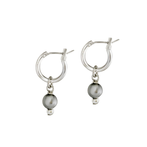 Mini 2-in-1 Pearl Loops - Silver / Charcoal