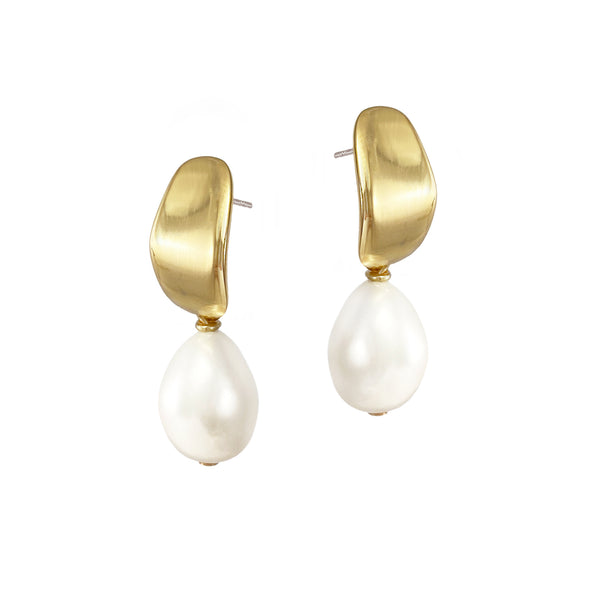 Mirage Pearl Studs - Gold