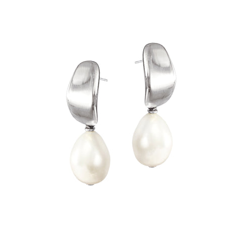 Mirage Pearl Studs - Silver