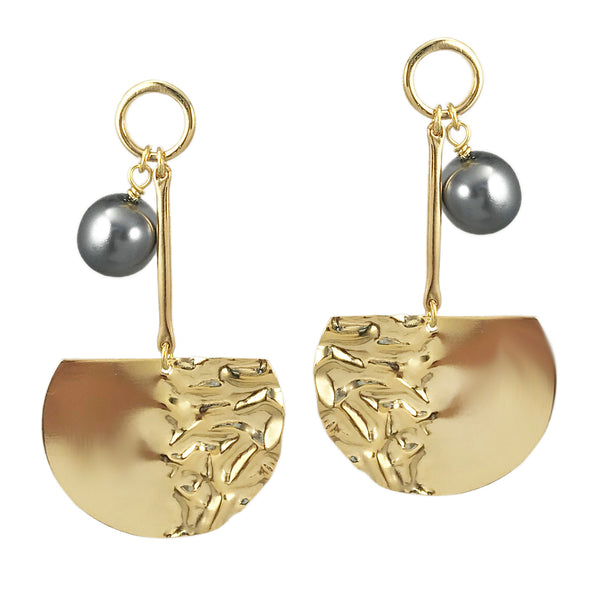 Molten Pearl Studs - Gold