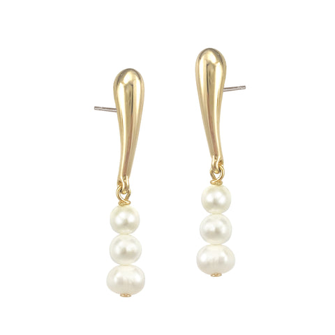 Pearl Droplet Studs - Gold