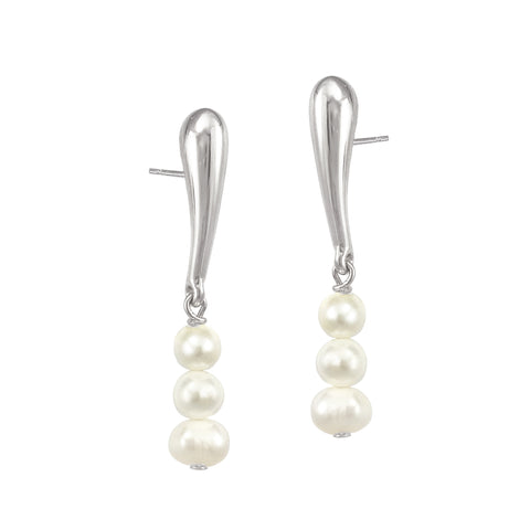 Pearl Droplet Studs - Silver