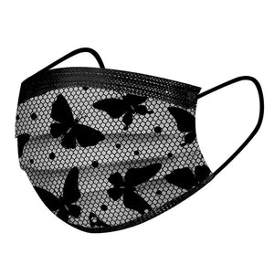 Disposable Black Butterfly Face Mask (Pack of 10)